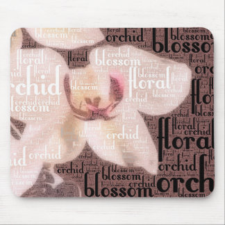 Orchid Floral Blossom Word Cloud Mouse Pad