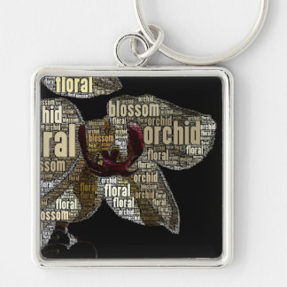 Orchid Floral Blossom Word Cloud over Black Keychain