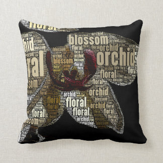 Orchid Floral Blossom Word Cloud Over Black Throw Pillow
