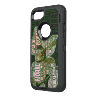 Orchid Floral Blossom Word Cloud Over Green OtterBox Defender iPhone 8/7 Case