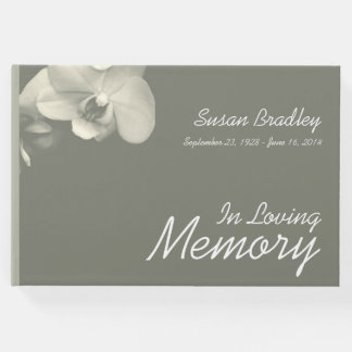 Orchid Floral Photography Kaki Funeral Guest Book