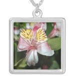 Orchid flower close up, pink white yellow photo custom jewelry