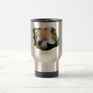 Orchid flower close up, pink white yellow photo travel mug
