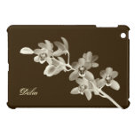 Orchid flower lover floral sepia brown custom name case for the iPad mini