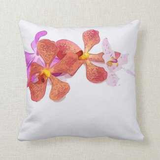 Orchid flower on white background throw pillow