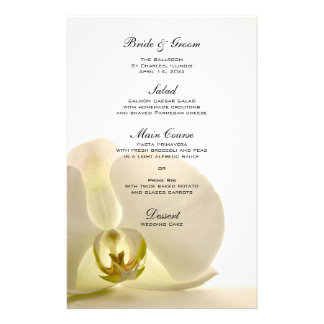 Orchid Flower on White Wedding Menu Stationery