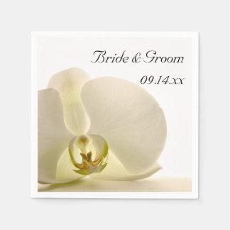Orchid Flower on White Wedding Paper Napkin