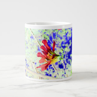 orchid flower red against blue invert 20 oz large ceramic coffee mug