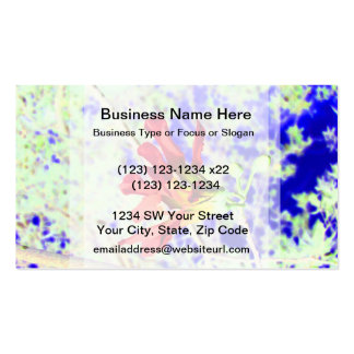 orchid flower red against blue invert business card