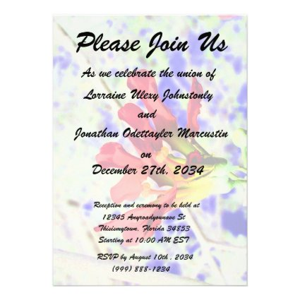 orchid flower red against blue invert invitations