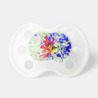 orchid flower red against blue invert pacifier