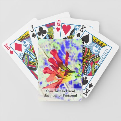 orchid flower red against blue invert bicycle poker cards
