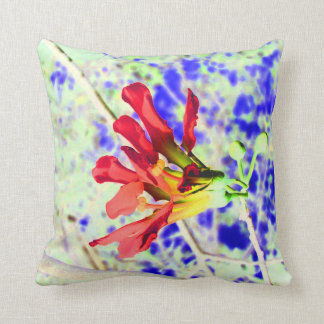 orchid flower red against blue invert throw pillow