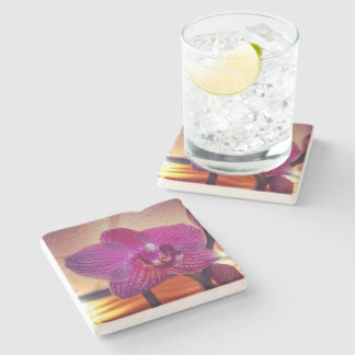 Orchid flower Stone Coaster