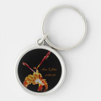 Orchid Flower Wedding Date Keychain