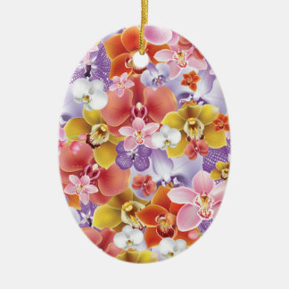 Orchid Flowers Design Floral Print Ornaments