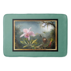 Orchid Flowers Floral Hummingbird Birds Bath Mat at Zazzle