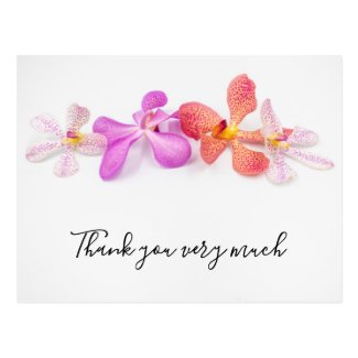 Orchid flowers on white background Thank You Card