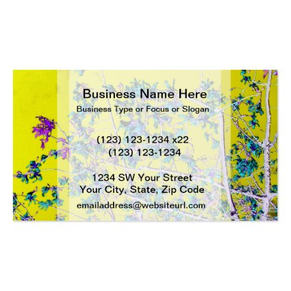 orchid flowers teal and yellow neat abstract desig business card templates