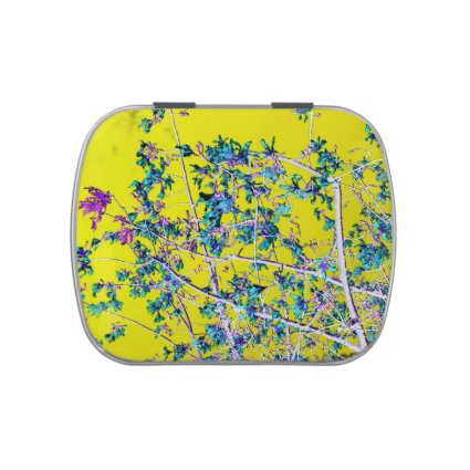 orchid flowers teal and yellow neat abstract desig candy tins