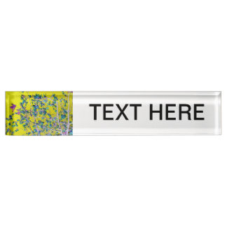 orchid flowers teal and yellow neat abstract desig name plate