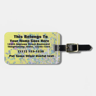 orchid flowers teal and yellow neat abstract desig travel bag tag