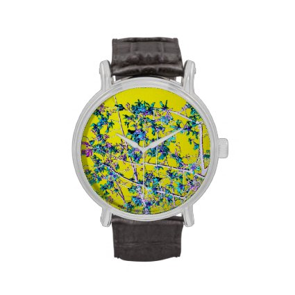 orchid flowers teal and yellow neat abstract desig wrist watches