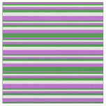 [ Thumbnail: Orchid, Forest Green, and White Pattern Fabric ]
