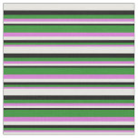 [ Thumbnail: Orchid, Forest Green, Black & White Colored Lines Fabric ]