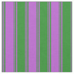 [ Thumbnail: Orchid & Forest Green Lines Pattern Fabric ]