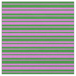 [ Thumbnail: Orchid & Forest Green Striped Pattern Fabric ]