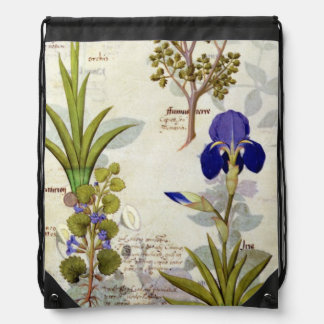 Orchid & Fumitory or Bleeding Heart Hedera & Iris Drawstring Backpack