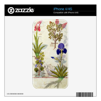 Orchid & Fumitory or Bleeding Heart Hedera & Iris Decals For The iPhone 4