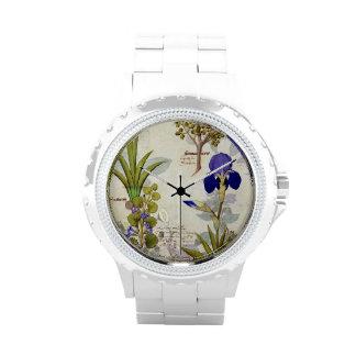 Orchid & Fumitory or Bleeding Heart Hedera & Iris Wrist Watch