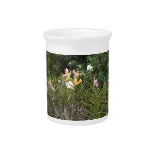 Orchid garden drink pitcher