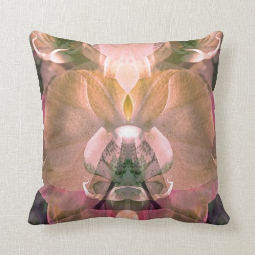 Orchid Goddess 31 Colorful Abstract Throw Pillow