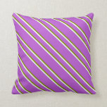 [ Thumbnail: Orchid, Green, and Mint Cream Stripes Pattern Throw Pillow ]