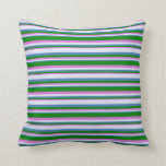 [ Thumbnail: Orchid, Green, Blue, and Lavender Lines Pillow ]