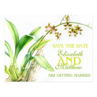 Orchid greenery painted flower save the date card
