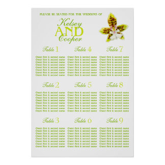 Orchid greenery Wedding Seating Table Planner 1-9 Poster