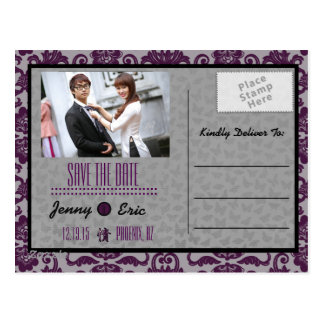 Orchid Grey Chinese Brocade Save the Date Postcard