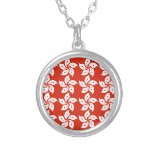Orchid Hong Kong Flag Pattern Round Pendant Necklace