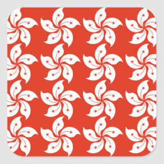 Orchid Hong Kong Flag Pattern Square Sticker