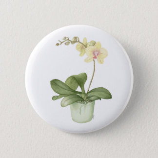 Orchid in a Green Pot Watercolour Badge Pinback Button
