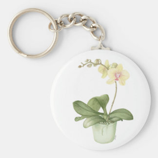 Orchid in a Green Pot Watercolour Key Ring Basic Round Button Keychain