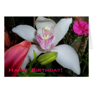 Orchid in Bouquet Birthday Card