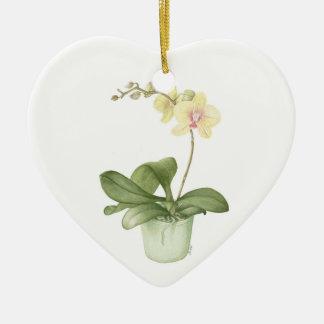 Orchid in Green Pot Botanical Watercolour Ceramic Ornament