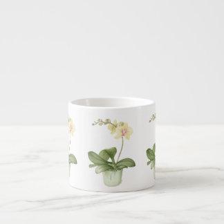 Orchid in Green Pot in Botanical Espresso Mug