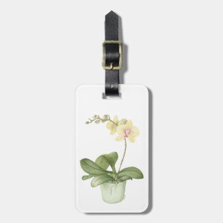 Orchid in Green Pot in Botanical Luggage Tag