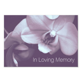 Orchid In Loving Memory 4 Celebration of Life 3.5x5 Paper Invitation Card